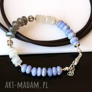 chalcedon - chalcedon, kamień, księżycowy, labradoryt, srebro, bransoletka