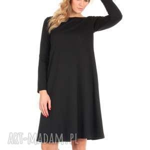 Sukienka rozkloszowana czarna,długa., lalu, sukienka, dzianina, rozkloszowana,