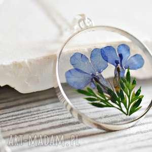 925 srebrny łańcuszek z prawdziwymi kwiatami, łańcuszek, medalion, srebro, kwiat