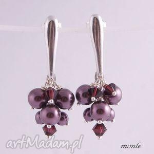 Kolczyki grona burgundy pearl - ,kolczyki,grona,burgundy,srebrne,biżuteria,