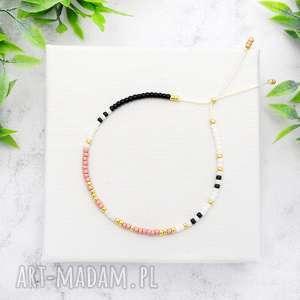 bransoletka minimal dots - powder pink, bransoletki, koralikowe, minimalistyczne