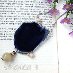 Agatowy wisior z łańcuszkiem: fioletowo-beżowy naszyjniki