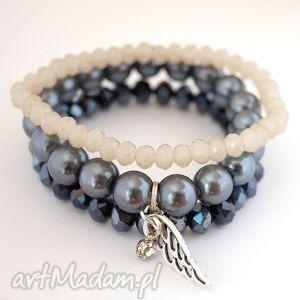 Set beads, pearls ki,zawieszka,skrzydło,cyrkonie,