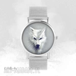 zegarek, bransoletka - biały wilk metalowy, bransoletka, metalowa