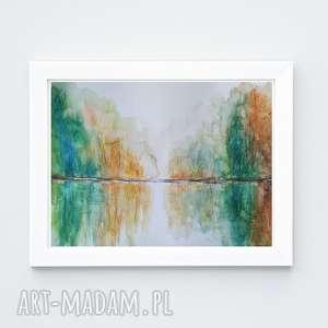 jesień-akwarela formatu a4, akwarela, drzewa, kredki, jesień, papier, farby