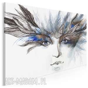 obrazy obraz na płótnie - kobieta pióropusz - 120x80 cm (22101)