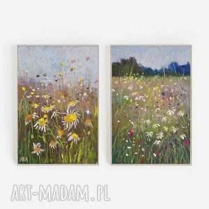 letnia łąka-dwie prace wykonane pastelami, pastele, papier, łąka