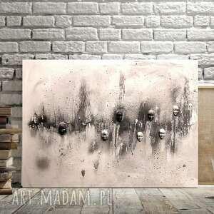 chaos, obraz do salonu, gipsowe maski, maska, abstrakcja