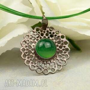 Kropla zieleni - wisior srebrny z agatem a860 naszyjniki artseko