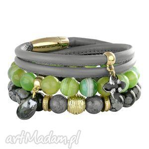 greenery & grey - rzemień swarovski, obsydian, agat