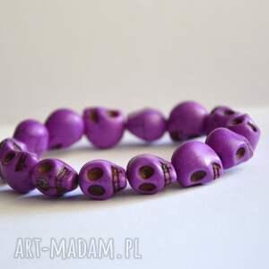 bracelet by sis fioletowe czaszki z kamienia, czaszki, kamienie, fiolet, howlit