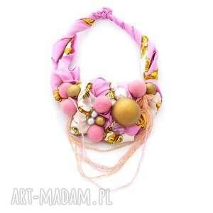 pink-pong baszyjnik handmade - naszyjnik, kolia, wisior, różowy, róż