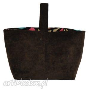 na zakupy 13-0003 brązowa torebka damska do ręki shopper bag toucan