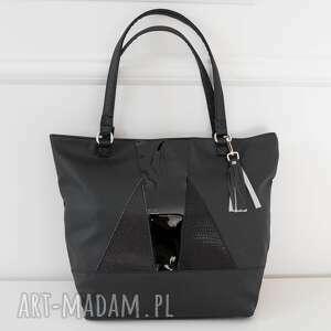 Laura tote bag black&black torebki black pearl cat metaliczna