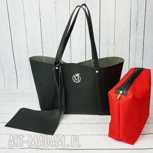 Prezent Duża torba worek MANZANA xxl 3w1 czarna, 3w1, torba, torebka, damska, prezent
