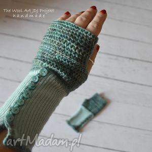 rękawiczki mitenki - rękawiczki, mitenki, turkusowe, wełniane
