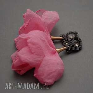 klipsy sutasz z kwiatkiem, sznurek, delikatne, wieczorowe, eleganckie, wyjściowe