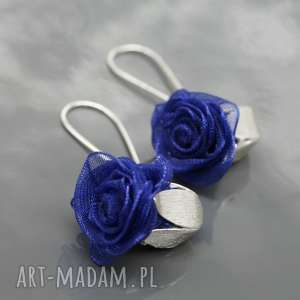 Kolczyki English roses - granatowe, kolczyki, wiszące, srebrne, srebro, organza, róża