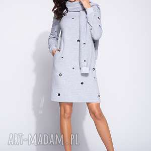 Sportowa sukienka dresowa z długim rekawem i szalem, casual, midi, ciepła