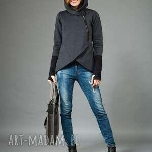 bluza damska, asymetryczna basa, z kapturem, damska bluza, dzianina