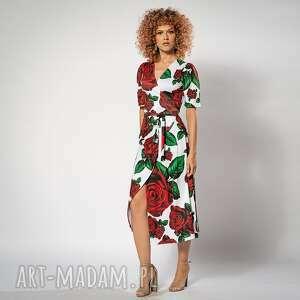 sukienki rozalia - sukienka w róże, kopertowa, elegancka, ponadczasowa