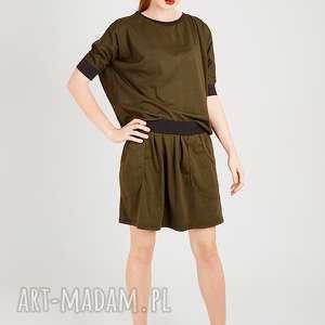 Dzianinowa spódnica khaki ze ściągaczem spódnice non tess