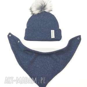 komplet zimowy - czapka z pomponem chusta podszyty polarem - zestaw na zimę