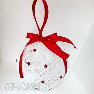 Kordonkowa bombka - biel i czerwień - Hand-Made