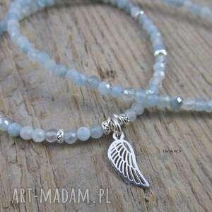irart skrzydło anioła z akwamarynem - naszyjnik, akwamaryn, srebro