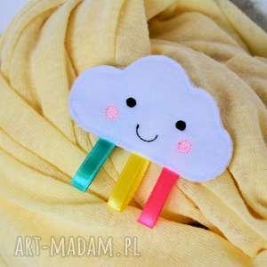 broszka dziecięca - tęczowa chmurka - chmurka, broszka, filc, haftowana, dziecko