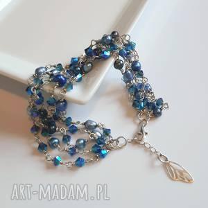 hand-made bransoletki srebrna bransoletka z błękitnych kryształów swarovskiego