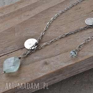 naszyjnik z akwamarynem i pastylkami - srebro, akwamaryn