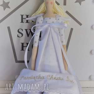 ręczne wykonanie lalki anioł pamiątka chrztu świętego