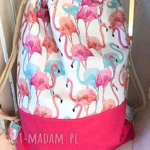 ręczne wykonanie plecaki worek plecak flamingi