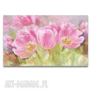 Tulipany, obraz na płótnie, 100x60, namalowany ręcznie
