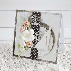 hand made scrapbooking kartki kartka ślubna w pudełku, 424