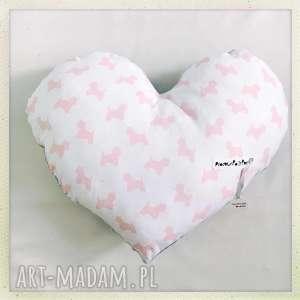 poduszka serce pieski - pieski, serce, róż, szary