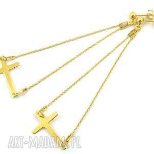 długie, pozłacane kolczyki celebrytki krzyż, kolczyki, krzyże
