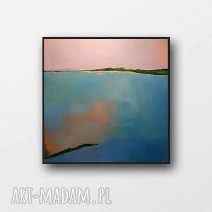 pejzaż ze złotem i turkusem -obraz akrylowy formatu 50/50 cm, obraz, kwadrat