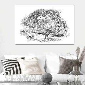 grafika czarno biała na płótnie drzewo marzeń 90 x 60, obraz ścianę do salonu
