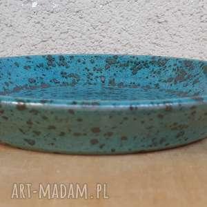 ceramika talerzyk deserowy turkusowy, talerz, ceramika, glina, rękodzieło