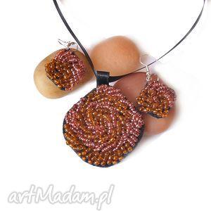 komplet haft koralikowy, haft, kolczyki, wisior, komplet, biżuteria