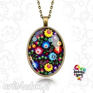 medalion owalny ludowy - polskie, folk, prezent, łowickie, wycinanki, kwiaty