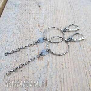 kolczyki - koła z łańcuszkiem, srebro, kolczyki