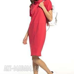 tessita luźna sukienka z golfikiem, t291, koralowy, luźna, sukienka, sportowa