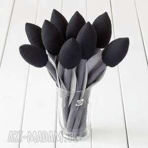 dekoracje tulipany szaro czarny bawełniany bukiet, tulipany, czarna dekoracja