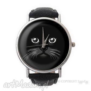 koci pyszczek - skórzany zegarek z dużą tarczą - zegarek, skórzany