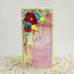 hand-made scrapbooking kartki kolorowa be happy w pudełku