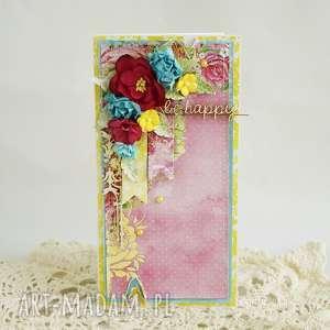 Kolorowa Be Happy w pudełku, kartka-uniwersalna, kartka-urodzinowa