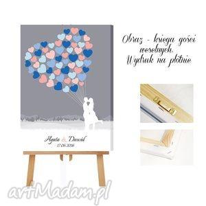 Obraz a'la księga gości - wydruk na płótnie serce z balonów